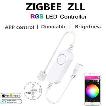 Zigbee mini RGB Controller 10M DC12V RGB 5050 60leds/m, IP65 RGB LED pásy svetla,+Power kit S ZIGBEE 3.0 Hub/e Amazon Echo Plus